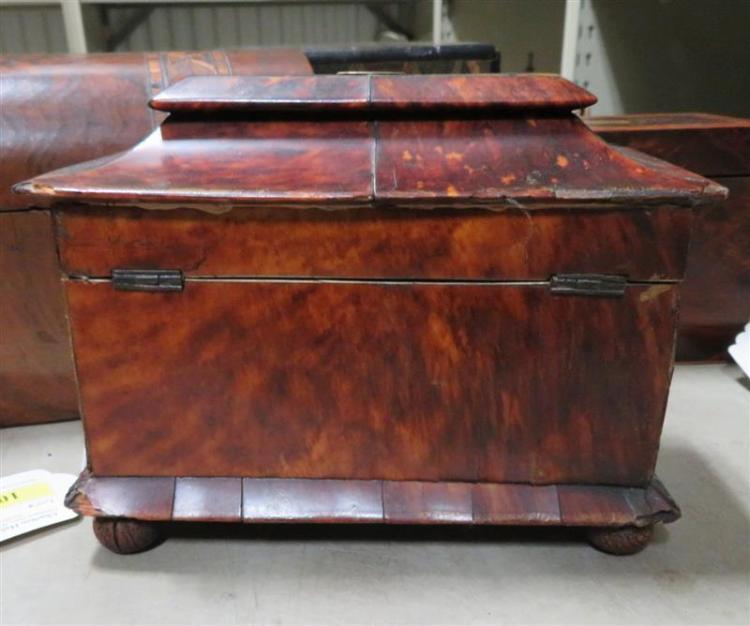 Regency shell-clad tea caddy