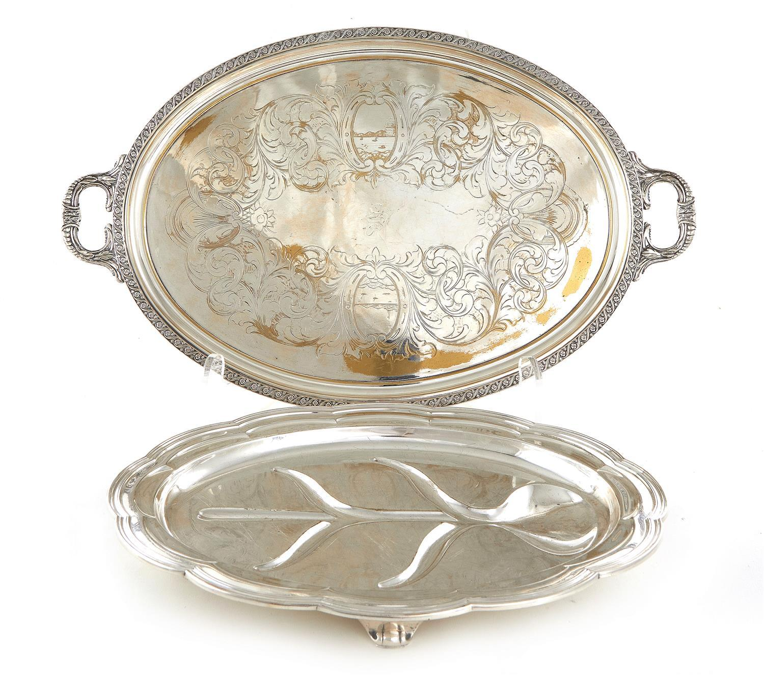 Tiffany & Co silverplate well-and-tree platter, and American waiter (2pcs)