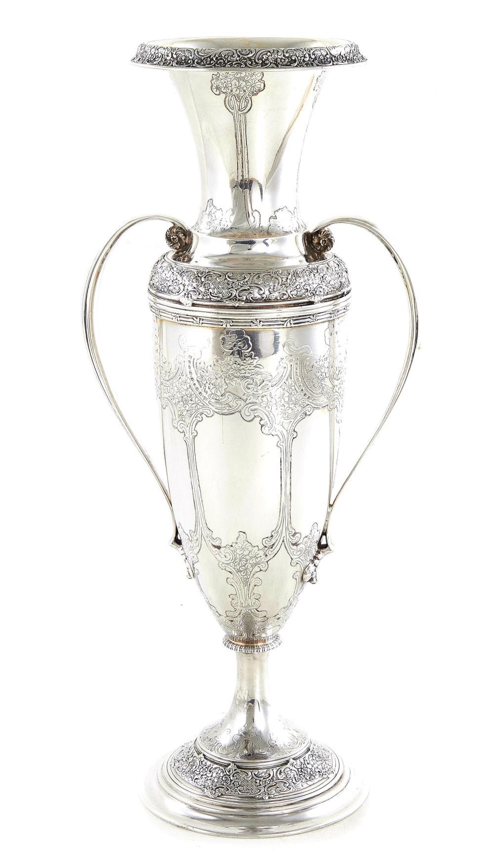 Tiffany & Co silver double handle vase