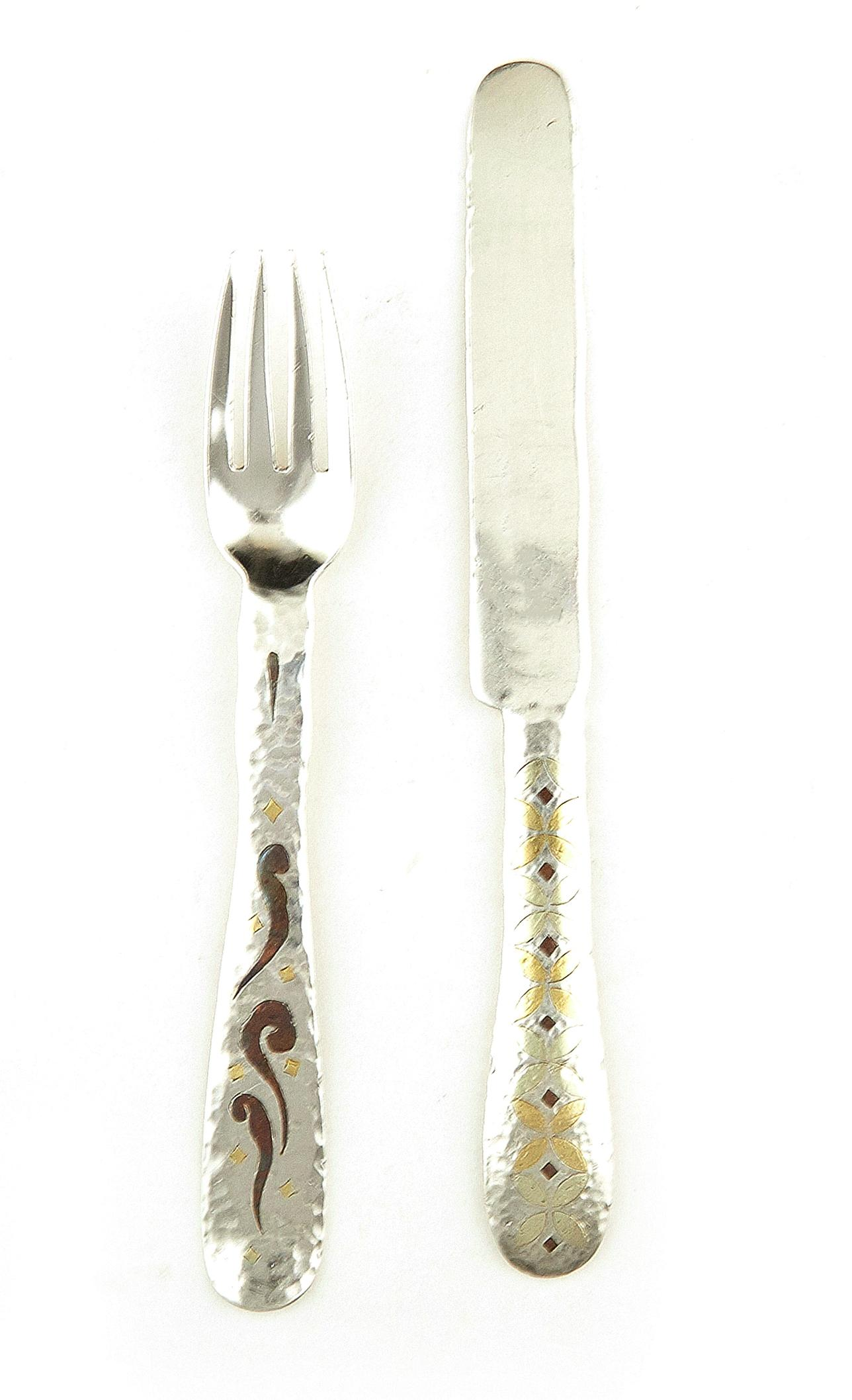 American silver and mixed-metal fork and knife set, Tiffany & Co (2pcs)