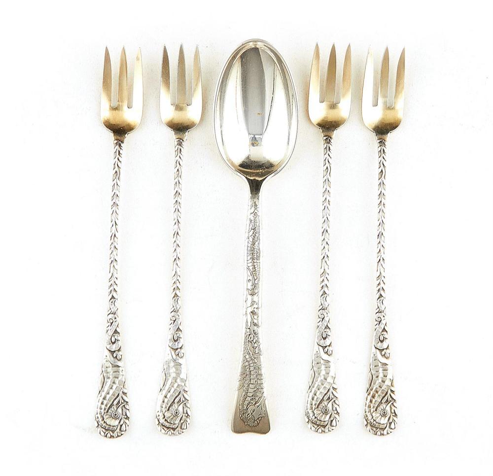 American silver seahorse-decorated flatware, Tiffany & Co, Towle (5pcs)