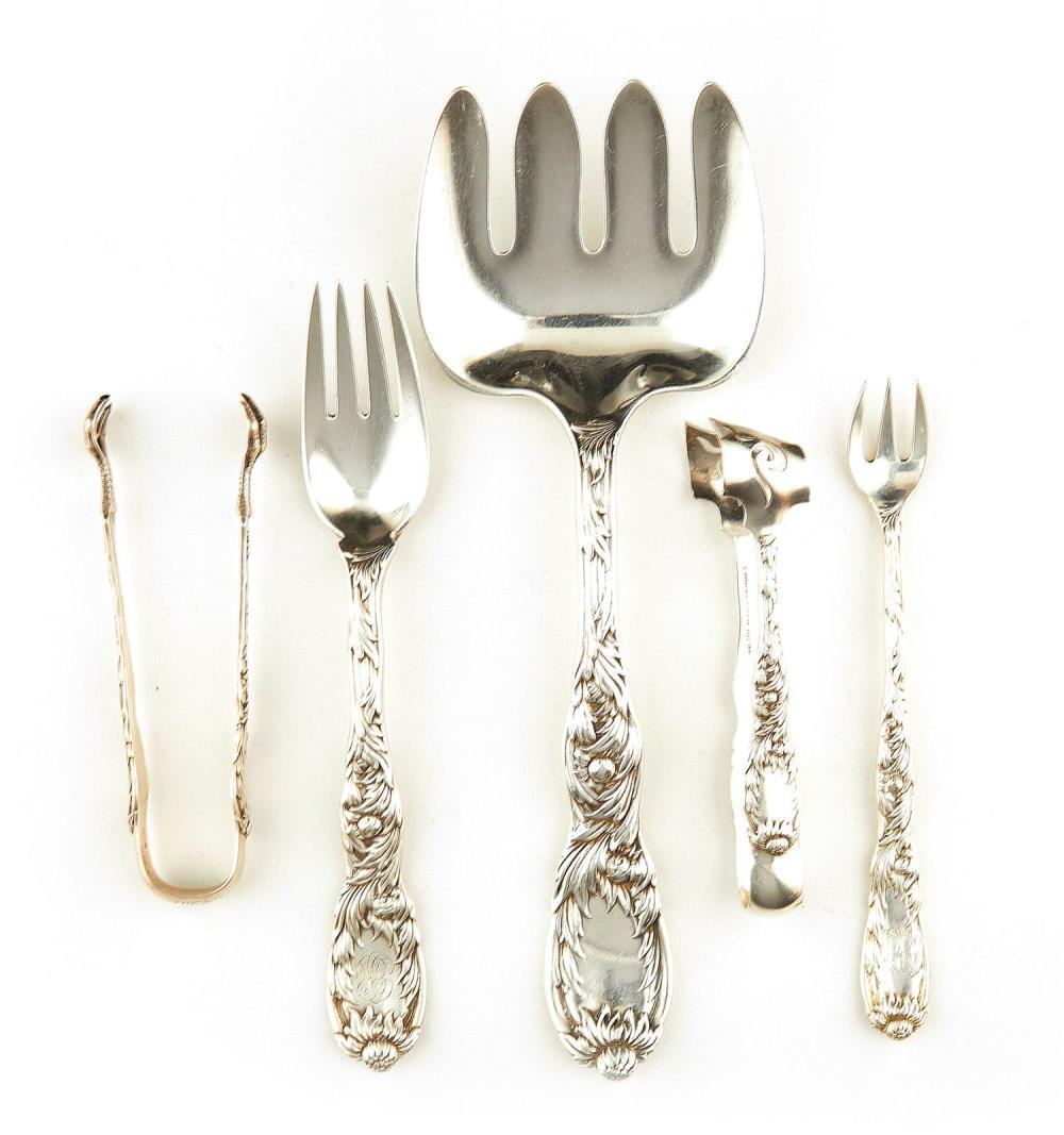 American silver flatware pieces, Tiffany & Co (7pcs)
