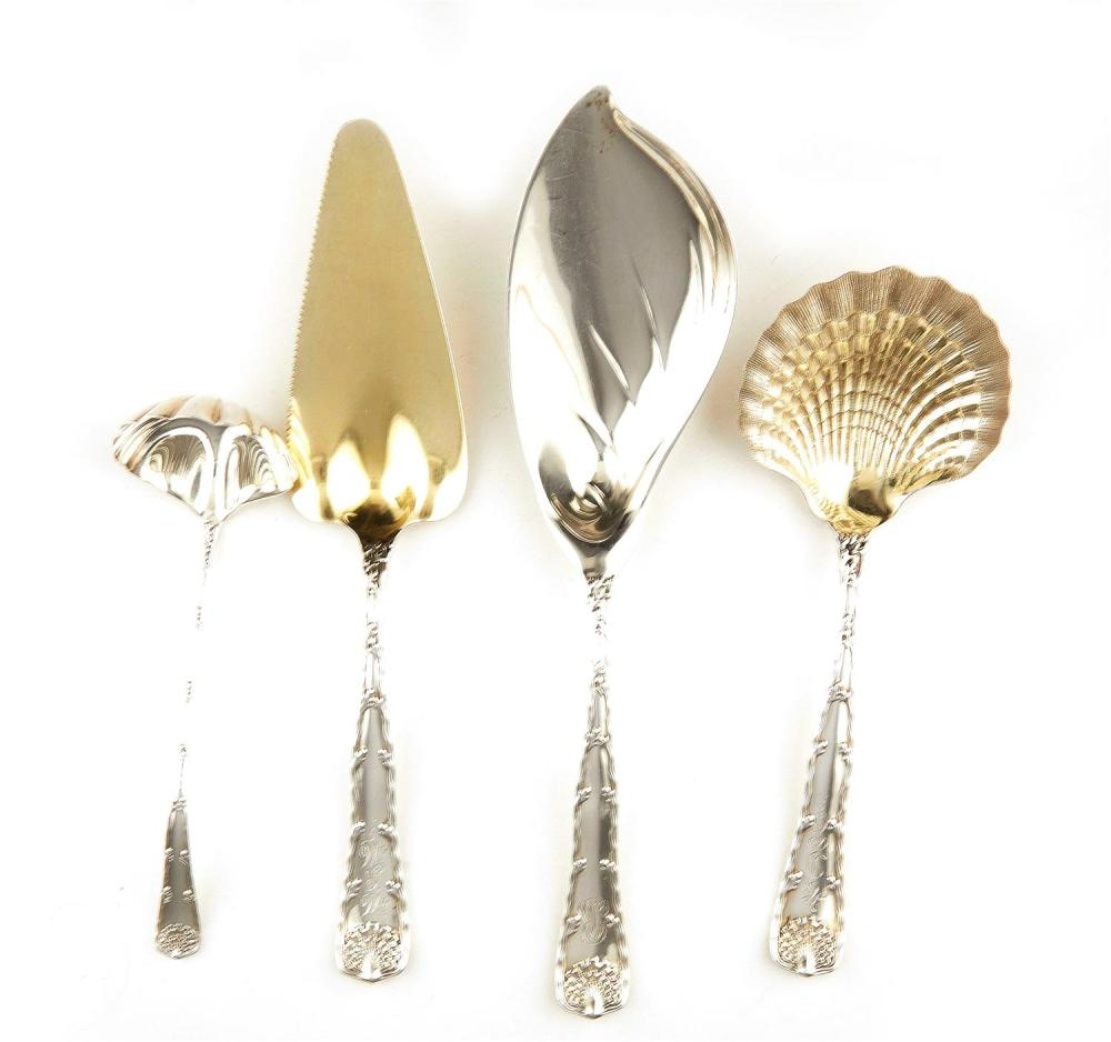 American silver flatware servers, Tiffany & Co (4pcs)