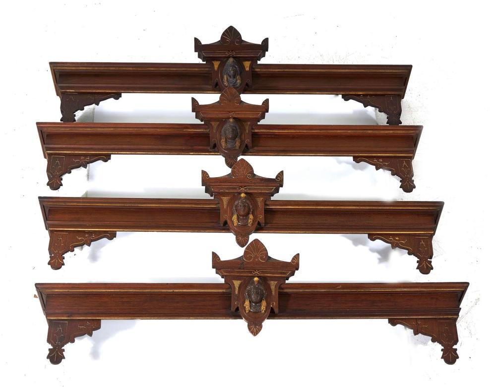 American Renaissance Revival carved and gilt walnut valances (6pcs)