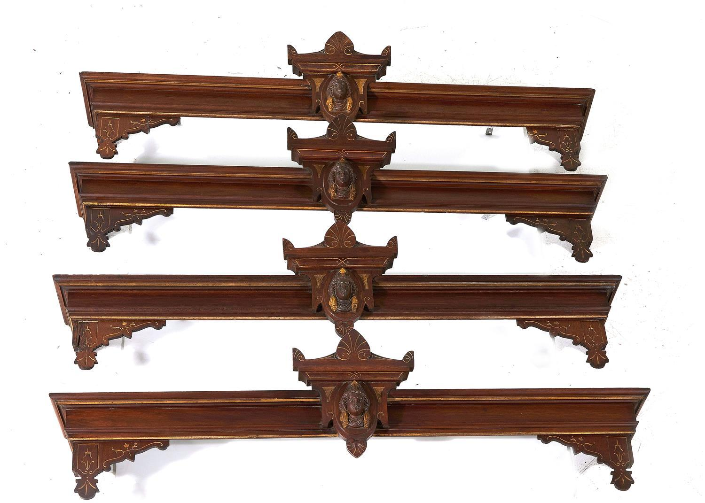 American Renaissance Revival carved and gilt walnut valances (4pcs)