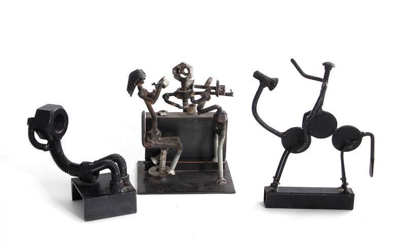 Folk art welded metal figural sculptures, H. Jay (3pcs)