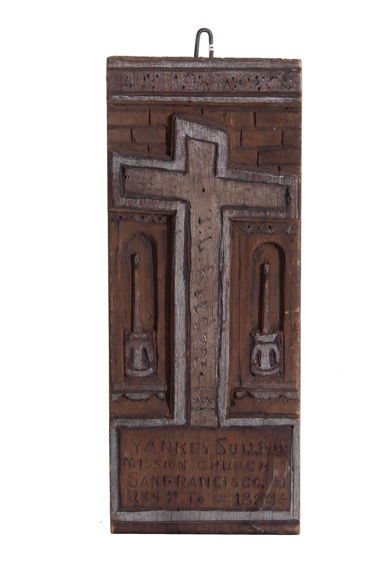 Folk art carved 'Yankey Sullivan' plaque