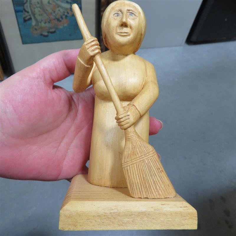 Folk art carved figure, signed D. Wills