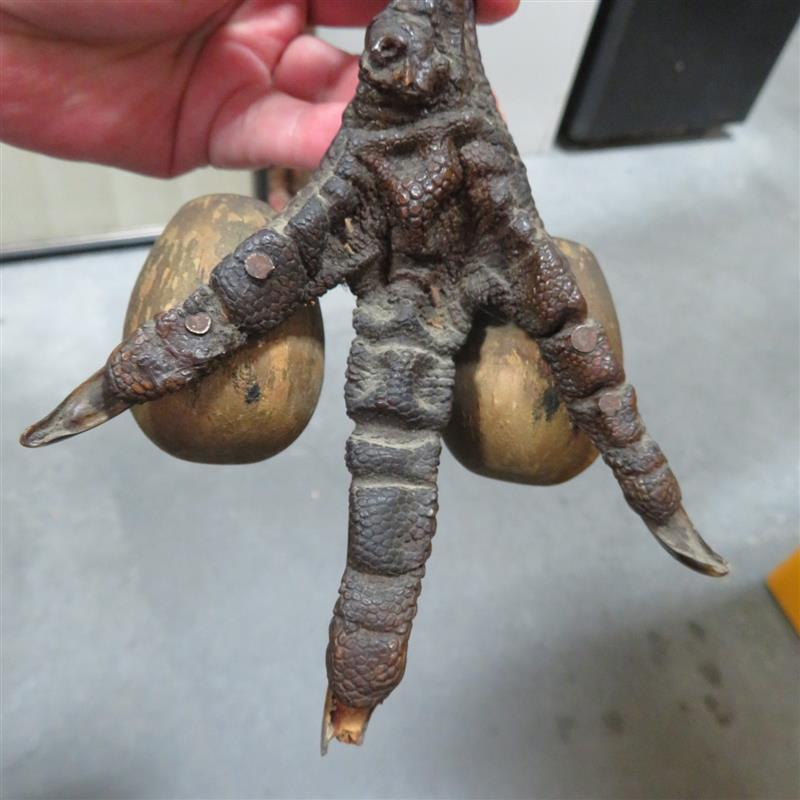 Folk art horn pincushion and turkey foot match holder (2pcs)