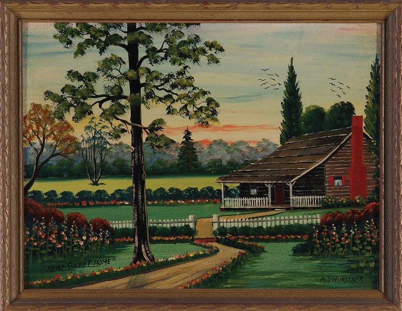 Folk art painting, signed A. J. Wurstner