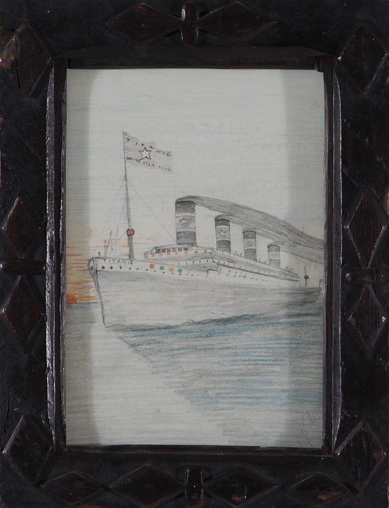 Southern folk art drawing RMS Titanic, by Pleasant G. Warder