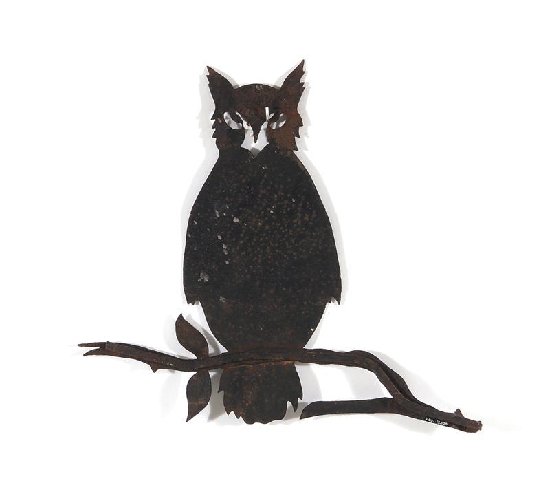 American folk art cutout sheet-iron owl weathervane