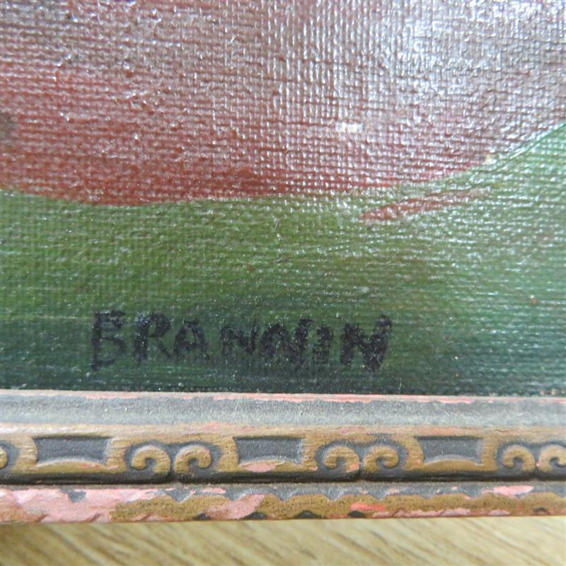 Folk art painted scene, signed Brannin