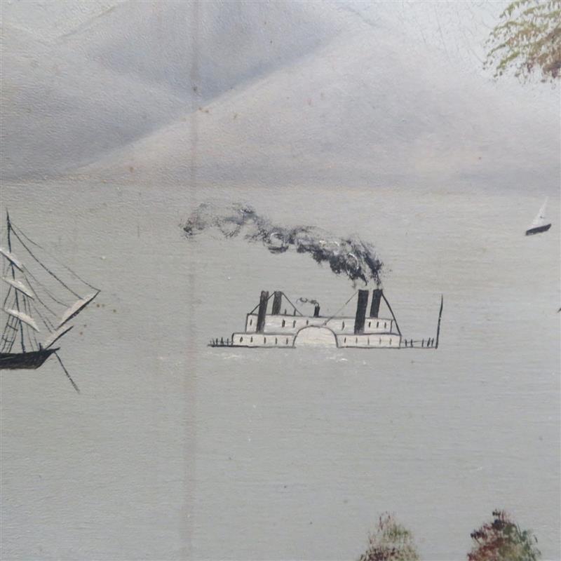 American folk art river scene painting