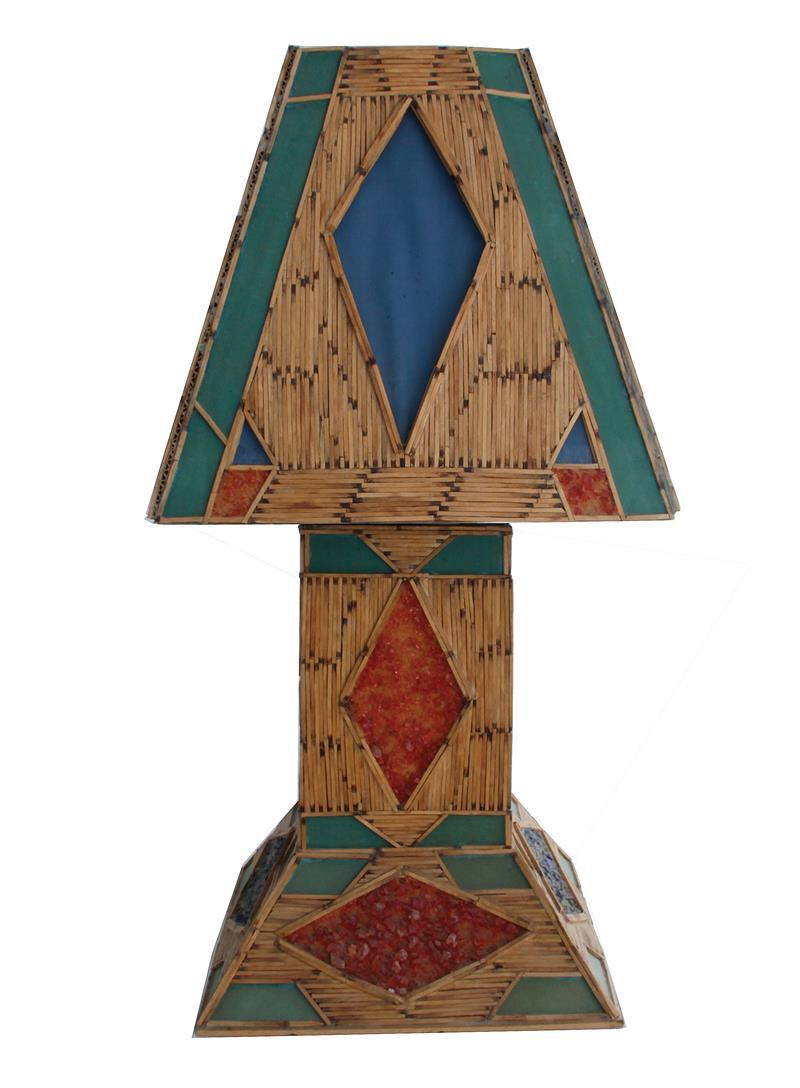 Folk art matchstick lamp and shade