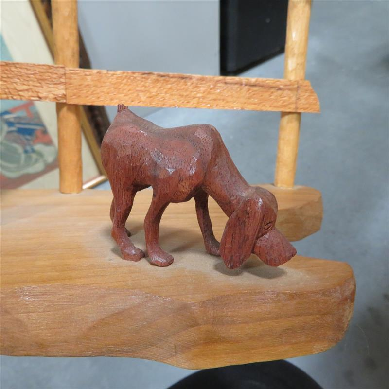 Folk art hunter and hound sculpture, Sam Brown