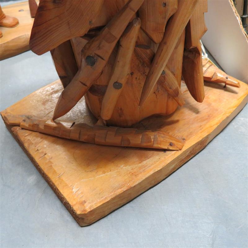 Folk art carved wood oil lamp
