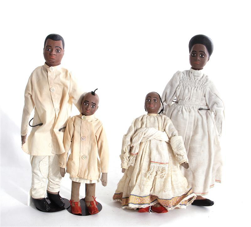 Vintage African-American dolls, family (4pcs)
