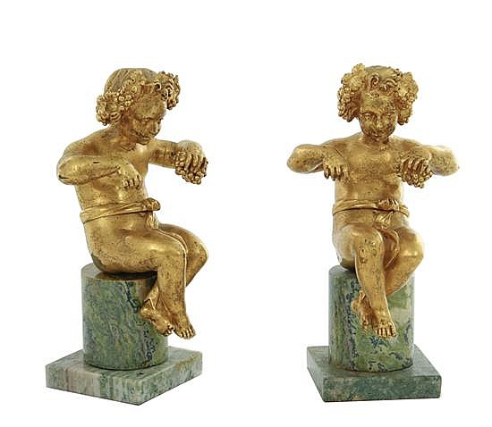 Pair gilt-bronze and marble Bacchic Putti figures (2pcs)