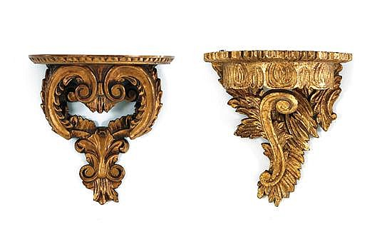 Collection of carved giltwood brackets and stands (9pcs)