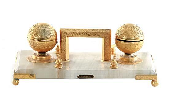 English gilt-metal and onyx desk stand, H. Greaves
