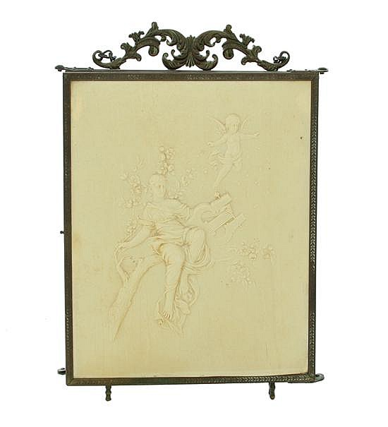 French brass and celluloid faux ivory tri-fold mirror