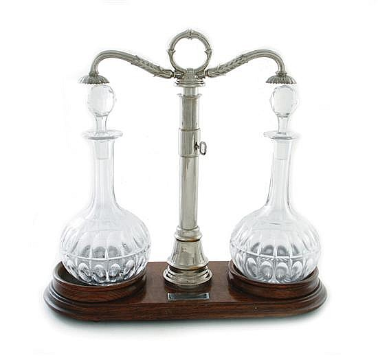 English silverplate and crystal tantalus