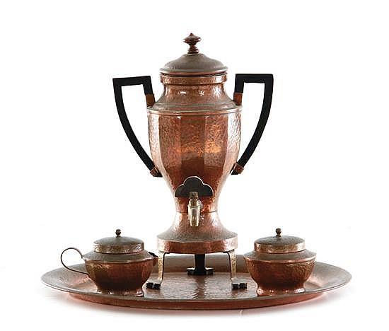 Joseph Heinrichs hammered copper tea set (4pcs)