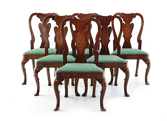 Queen Anne style inlaid walnut dining chairs, set of six (6pcs)