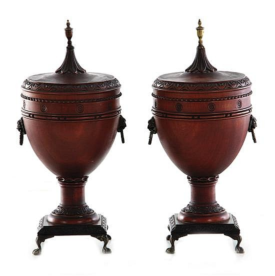 Pair English carved mahogany and brass chestnut urns (2pcs)