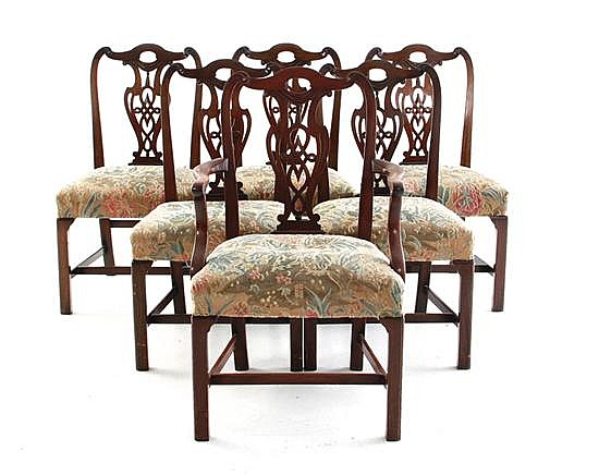 Georgian style carved mahogany dining chairs, set of six (6pcs)