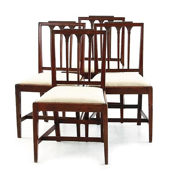 Hepplewhite carved mahogany side chairs, set of four (4pcs)