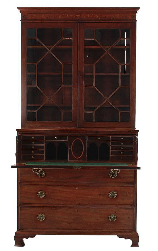 English mahogany secretary bookcase