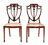 Image 1 for Pair Sheraton style mahogany shield back side chairs