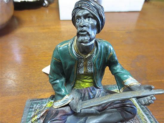 Austrian cold-painted bronze Orientalist sculpture by Franz Bergman