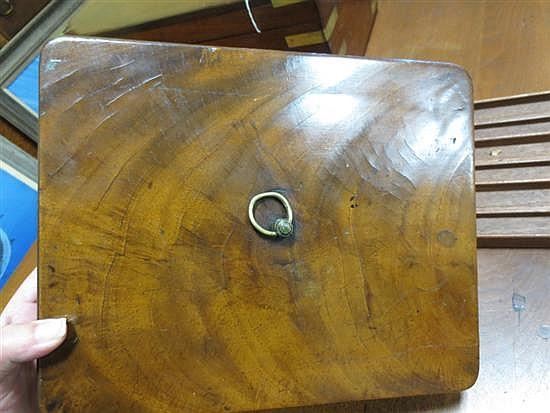 English brass-bound mahogany writing slope with artist's box (2pcs)