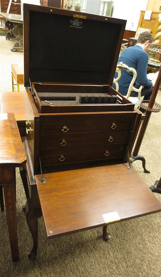 Virginia Galleries mahogany silver chest on stand