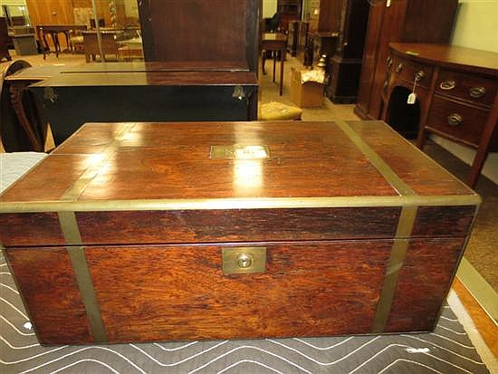Regency rosewood writing box on stand