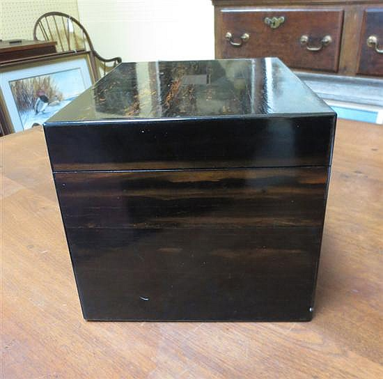 English brass inlaid calamander jewelry box