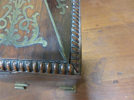 English brass-inlaid rosewood double tea caddy