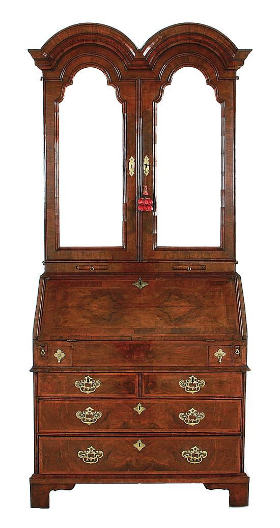 George II style double-bonnet walnut and burl bureau bookcase