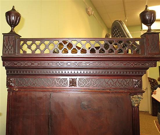 Chinese Chippendale style carved mahogany chest-on-chest
