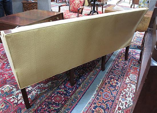 Sheraton carved mahogany and upholstered sofa