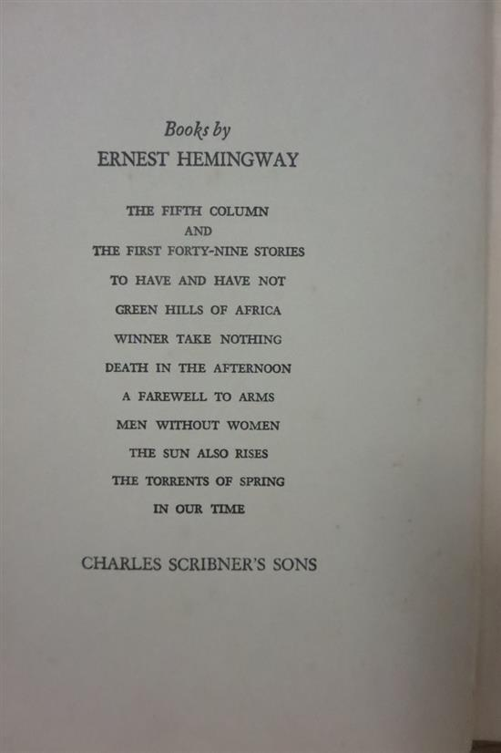 Books: American first editions, by Hemingway and Fitzgerald (2vols)