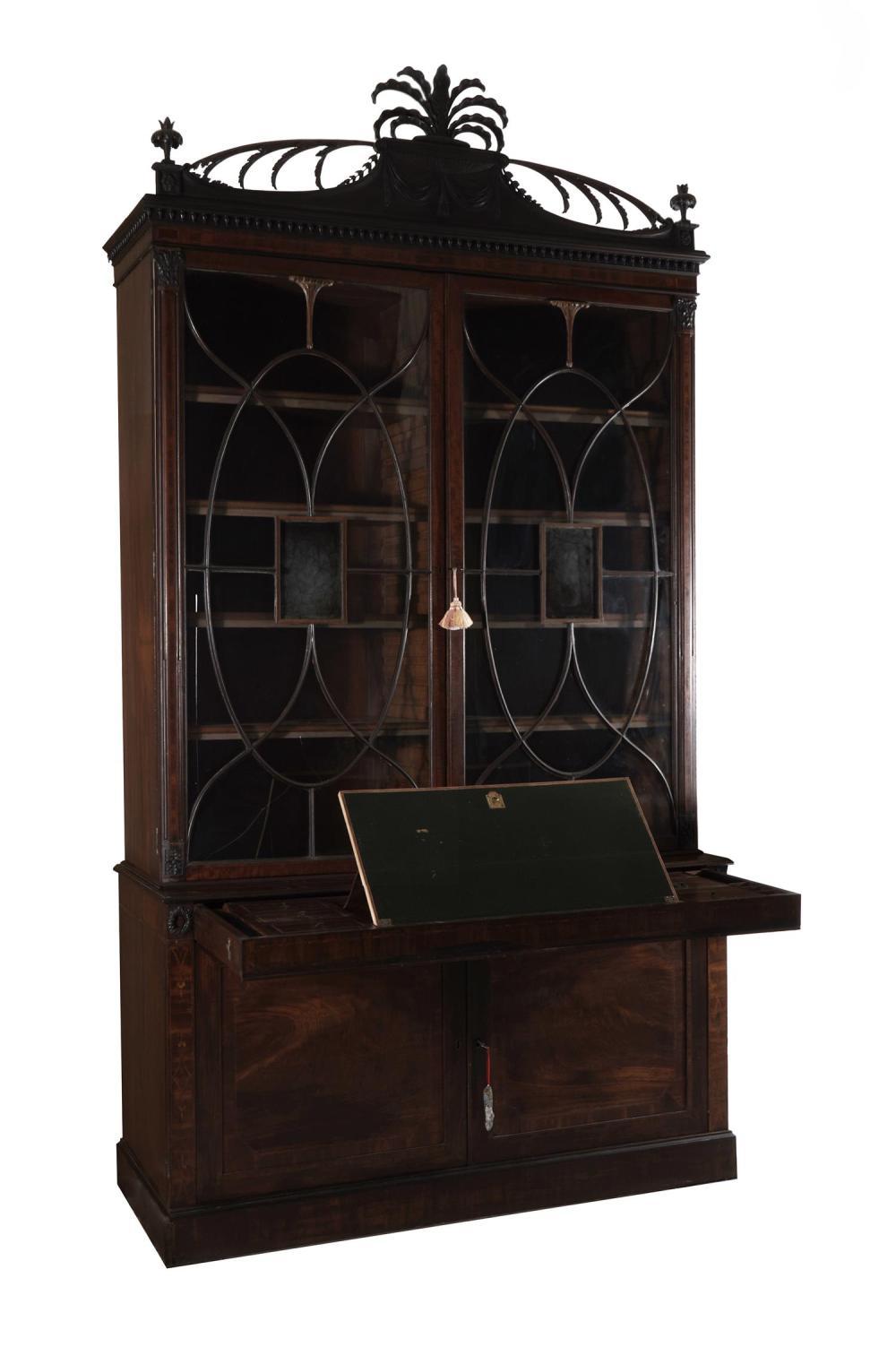 Important Sheraton carved and inlaid mahogany secretary bookcase
