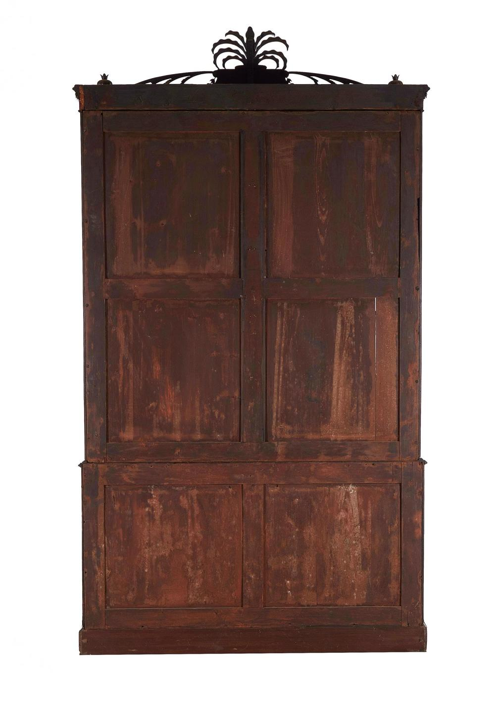 *Important Sheraton carved and inlaid mahogany secretary bookcase