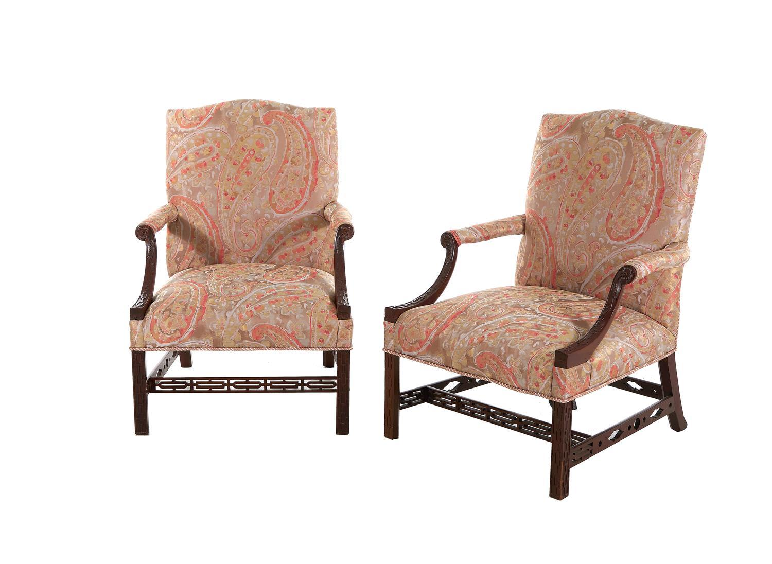 *Fine pair George III carved mahogany library armchairs (2pcs)