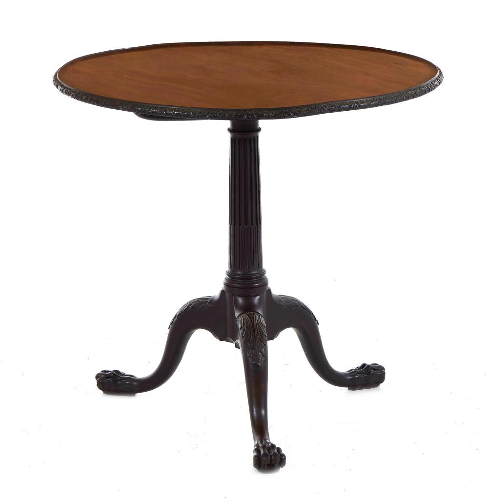 *George III carved mahogany tilt-top tripod table
