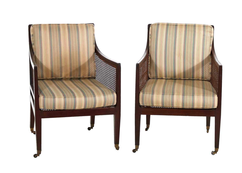 Pair Regency mahogany and cane-work armchairs (2pcs)