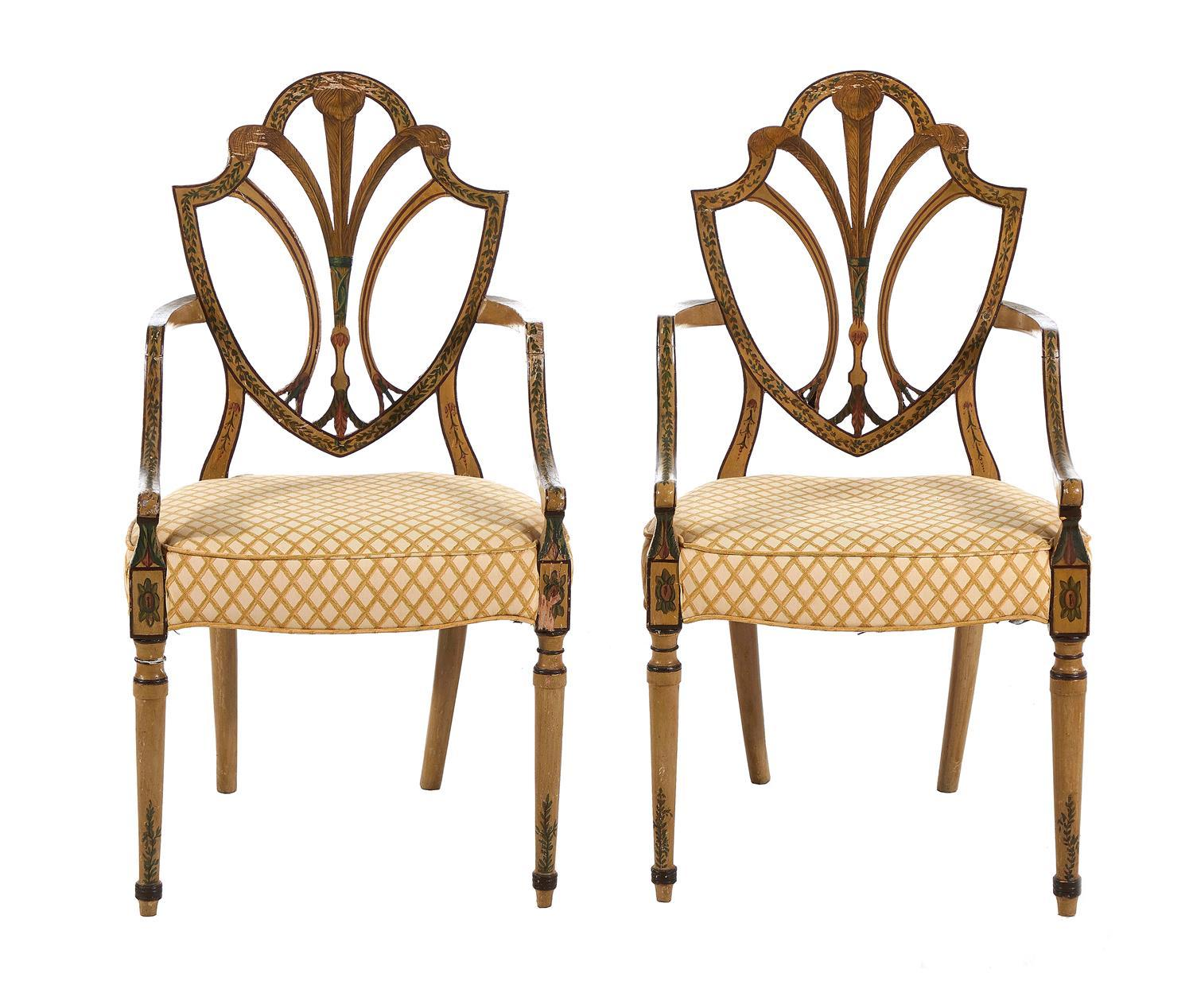 Pair Sheraton paint-decorated armchairs (2pcs)